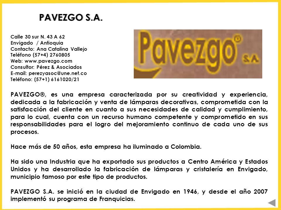 PAVEZGO S.A. PAVEZGO®, es una empresa caracterizada por su creatividad y experiencia, dedicada a la fabricación y venta de lámparas decorativas, compr