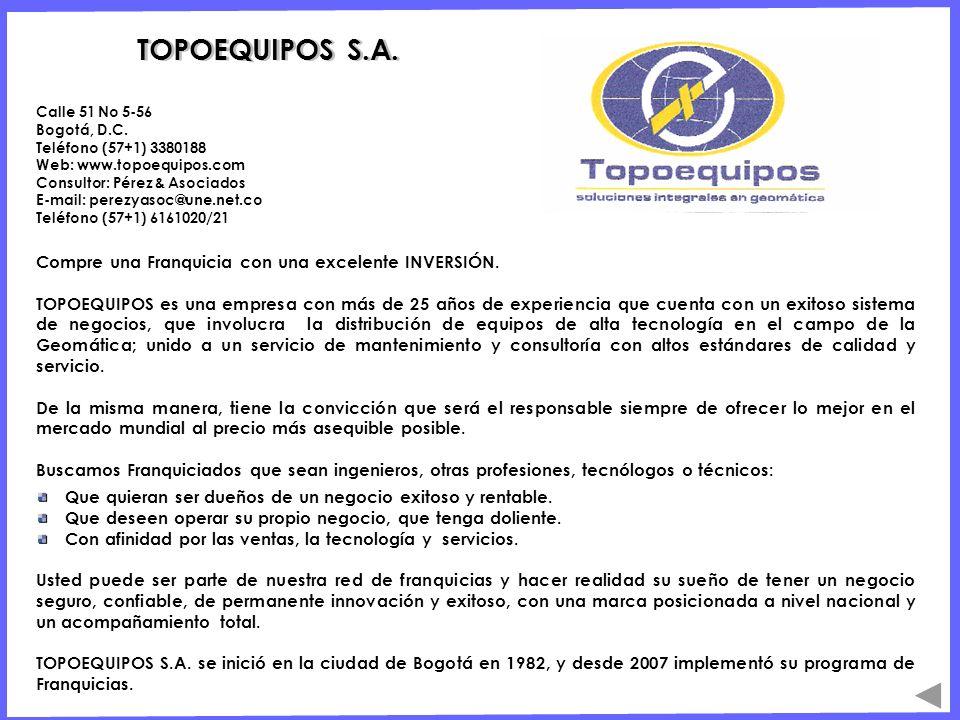 TOPOEQUIPOS S.A. Compre una Franquicia con una excelente INVERSIÓN. TOPOEQUIPOS es una empresa con más de 25 años de experiencia que cuenta con un exi