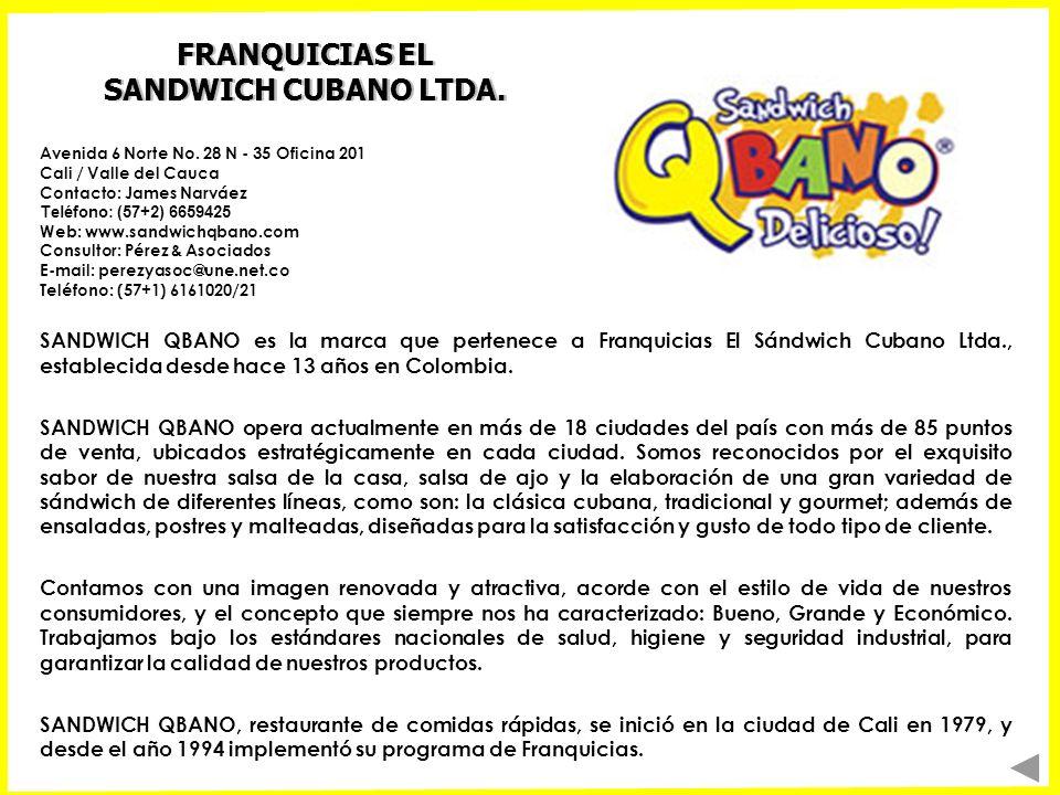 FRANQUICIAS EL SANDWICH CUBANO LTDA. SANDWICH QBANO es la marca que pertenece a Franquicias El Sándwich Cubano Ltda., establecida desde hace 13 años e
