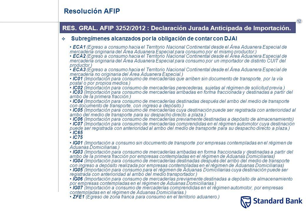 12 RES. GRAL. AFIP 3252/2012 : Declaración Jurada Anticipada de Importación. Resolución AFIP Subregímenes alcanzados por la obligación de contar con D