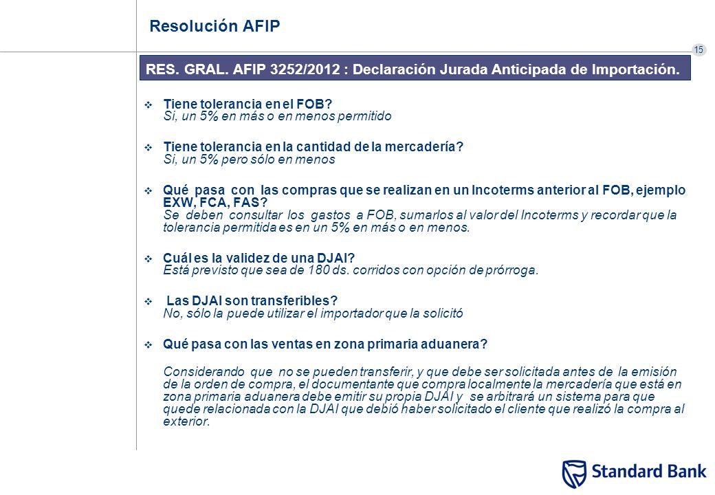 15 RES. GRAL. AFIP 3252/2012 : Declaración Jurada Anticipada de Importación. Resolución AFIP Tiene tolerancia en el FOB? Si, un 5% en más o en menos p