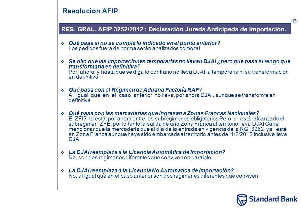 17 RES. GRAL. AFIP 3252/2012 : Declaración Jurada Anticipada de Importación. Resolución AFIP Qué pasa si no se cumple lo indicado en el punto anterior