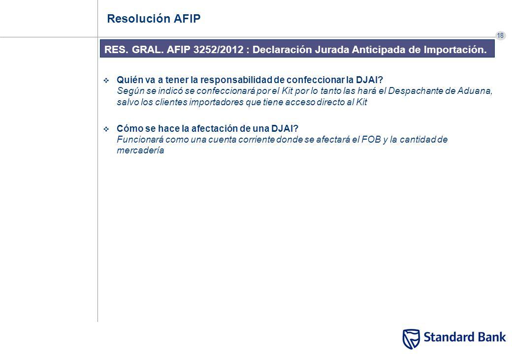 18 RES. GRAL. AFIP 3252/2012 : Declaración Jurada Anticipada de Importación. Resolución AFIP Quién va a tener la responsabilidad de confeccionar la DJ