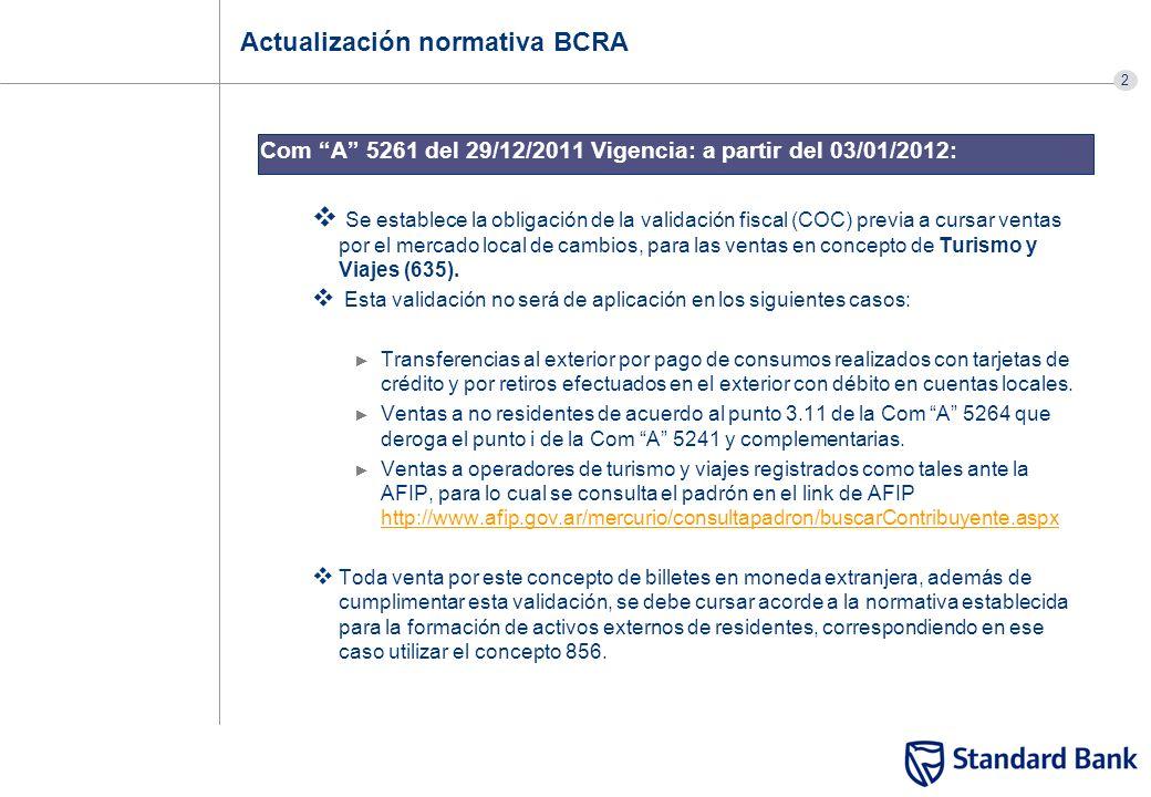 2 Actualización normativa BCRA Com A 5261 del 29/12/2011 Vigencia: a partir del 03/01/2012: Se establece la obligación de la validación fiscal (COC) p