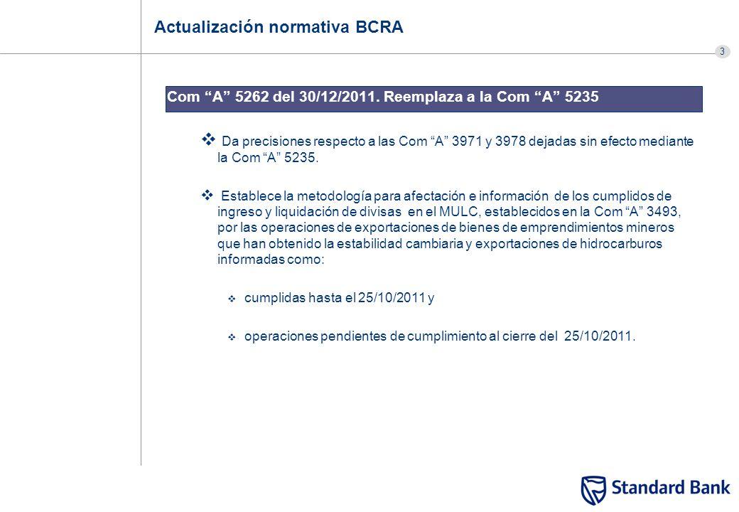 3 Actualización normativa BCRA Com A 5262 del 30/12/2011. Reemplaza a la Com A 5235 Da precisiones respecto a las Com A 3971 y 3978 dejadas sin efecto