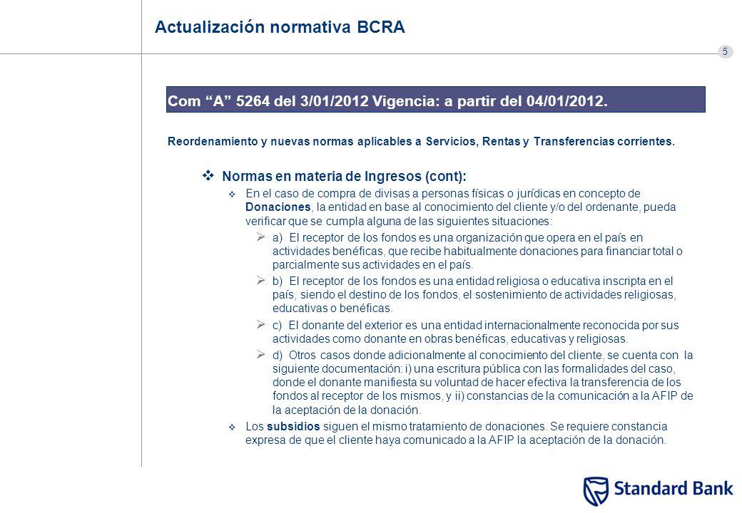 5 Actualización normativa BCRA Com A 5264 del 3/01/2012 Vigencia: a partir del 04/01/2012. Reordenamiento y nuevas normas aplicables a Servicios, Rent