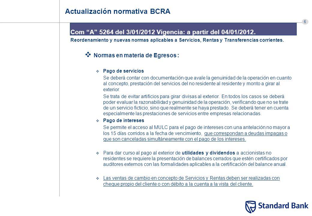 6 Actualización normativa BCRA Com A 5264 del 3/01/2012 Vigencia: a partir del 04/01/2012. Reordenamiento y nuevas normas aplicables a Servicios, Rent