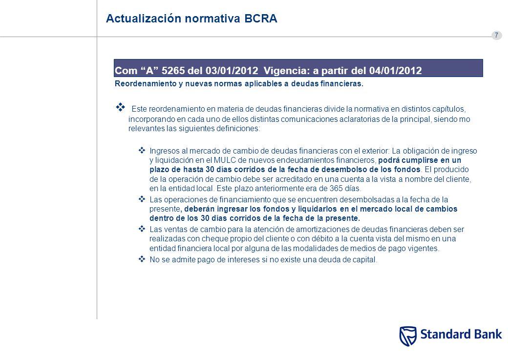 7 Actualización normativa BCRA Com A 5265 del 03/01/2012 Vigencia: a partir del 04/01/2012 Reordenamiento y nuevas normas aplicables a deudas financie