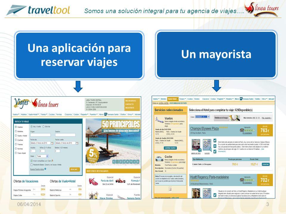06/04/20143 Un mayorista Somos una solución integral para tu agencia de viajes…. Una aplicación para reservar viajes