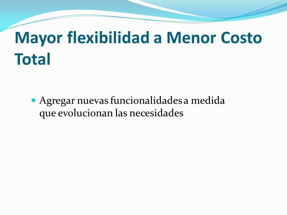 Mayor flexibilidad a Menor Costo Total Agregar nuevas funcionalidades a medida que evolucionan las necesidades