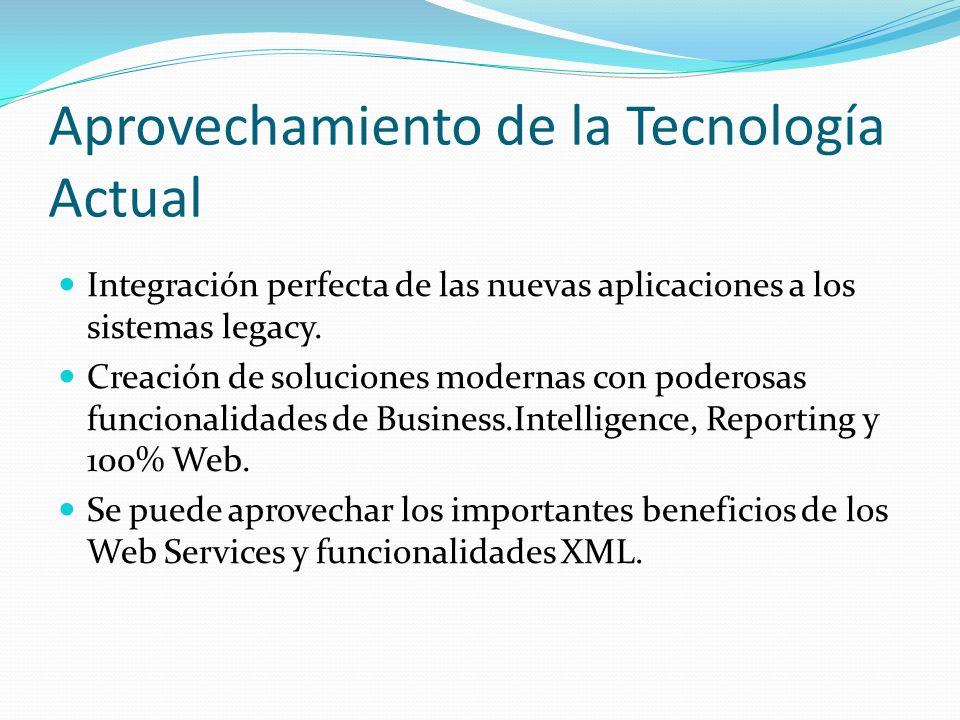 Aprovechamiento de la Tecnología Actual Integración perfecta de las nuevas aplicaciones a los sistemas legacy. Creación de soluciones modernas con pod