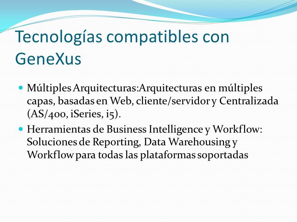 Tecnologías compatibles con GeneXus Múltiples Arquitecturas:Arquitecturas en múltiples capas, basadas en Web, cliente/servidor y Centralizada (AS/400,