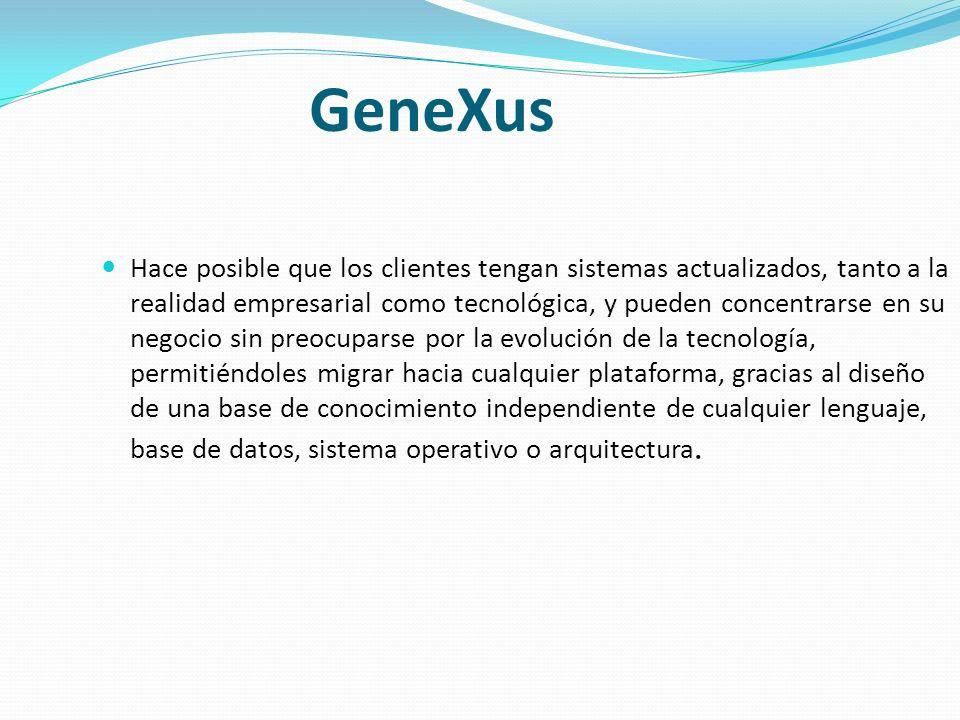 Características Importantes Puede ser ejecutado independientemente de GeneXus.