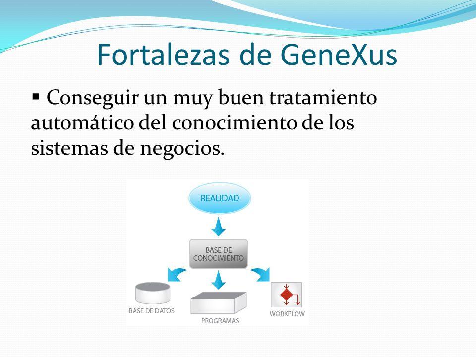 Fortalezas de GeneXus La descripción de cada objeto es totalmente independiente de la de los demás por lo que, en el caso de que se deba modificar la descripción de uno, ello no implicará la necesidad de modificar manualmente la descripción de cualquier otro.