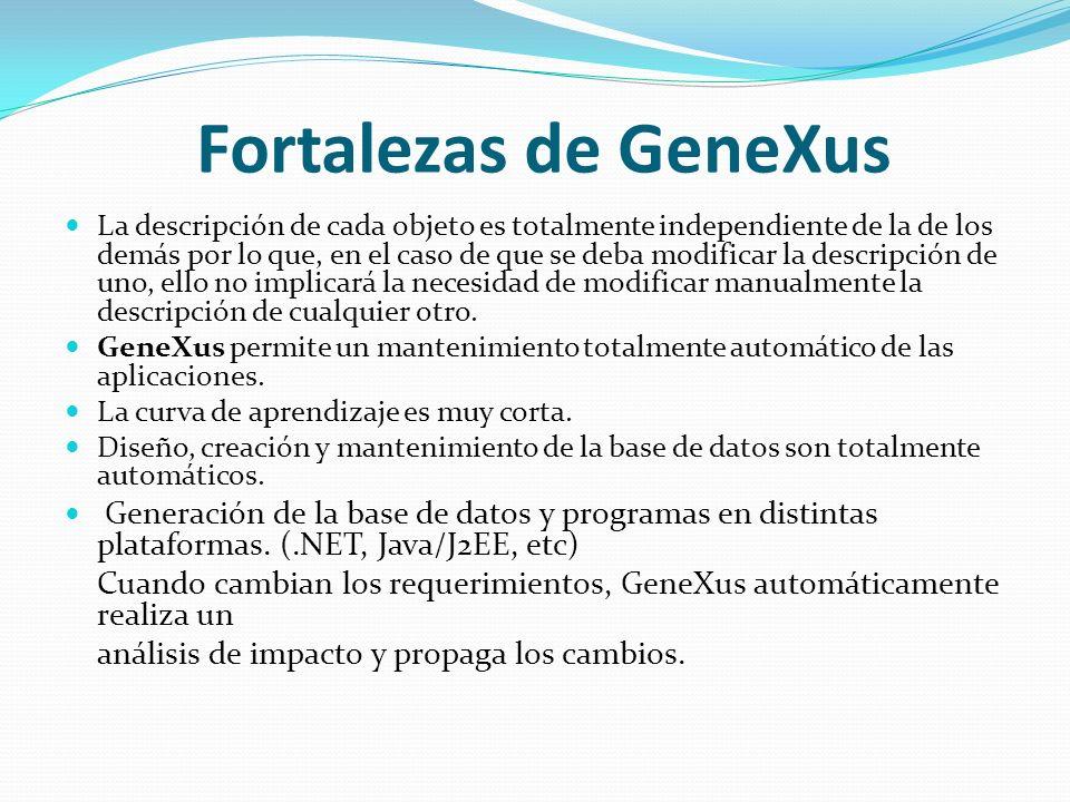 Fortalezas de GeneXus La descripción de cada objeto es totalmente independiente de la de los demás por lo que, en el caso de que se deba modificar la