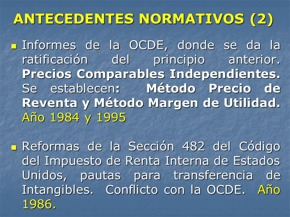 ANTECEDENTES NORMATIVOS (2) Informes de la OCDE, donde se da la ratificación del principio anterior. Precios Comparables Independientes. Se establecen