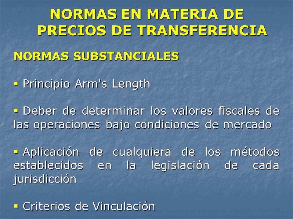 NORMAS EN MATERIA DE PRECIOS DE TRANSFERENCIA NORMAS SUBSTANCIALES Principio Arm's Length Principio Arm's Length Deber de determinar los valores fisca