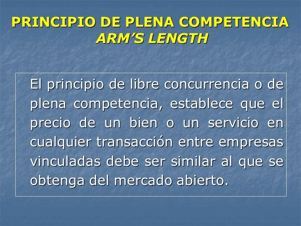PRINCIPIO DE PLENA COMPETENCIA ARMS LENGTH El principio de libre concurrencia o de plena competencia, establece que el precio de un bien o un servicio