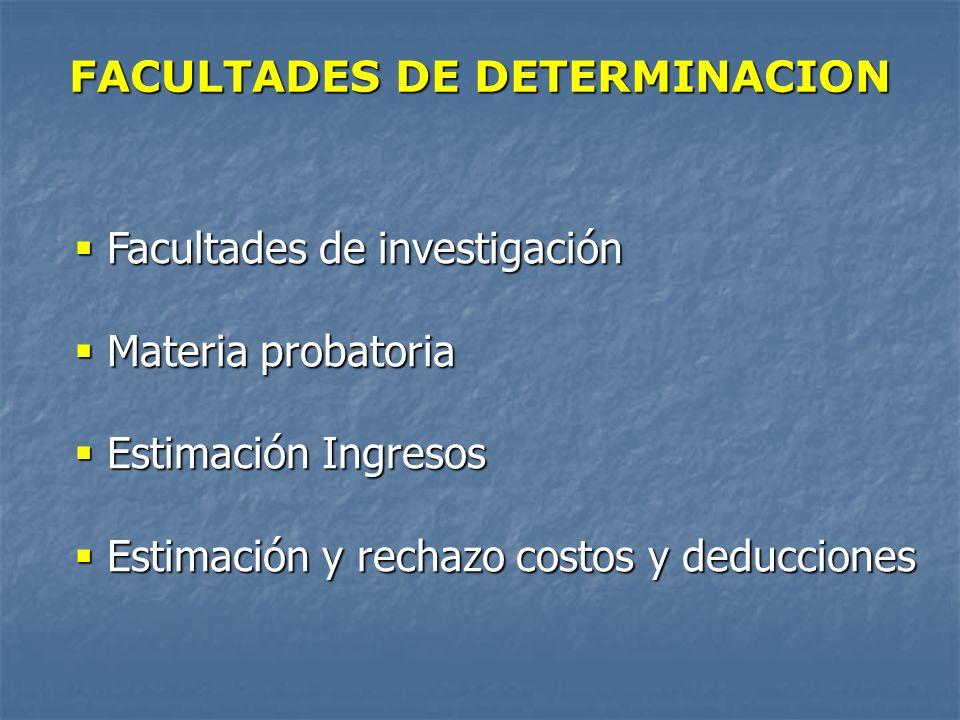 FACULTADES DE DETERMINACION Facultades de investigación Facultades de investigación Materia probatoria Materia probatoria Estimación Ingresos Estimaci