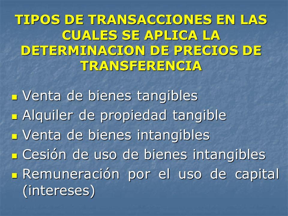 TIPOS DE TRANSACCIONES EN LAS CUALES SE APLICA LA DETERMINACION DE PRECIOS DE TRANSFERENCIA Venta de bienes tangibles Venta de bienes tangibles Alquil