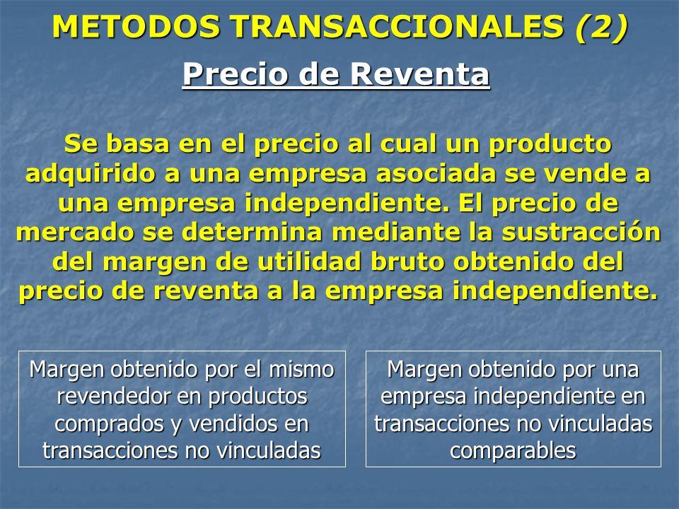 METODOS TRANSACCIONALES (2) Precio de Reventa Se basa en el precio al cual un producto adquirido a una empresa asociada se vende a una empresa indepen
