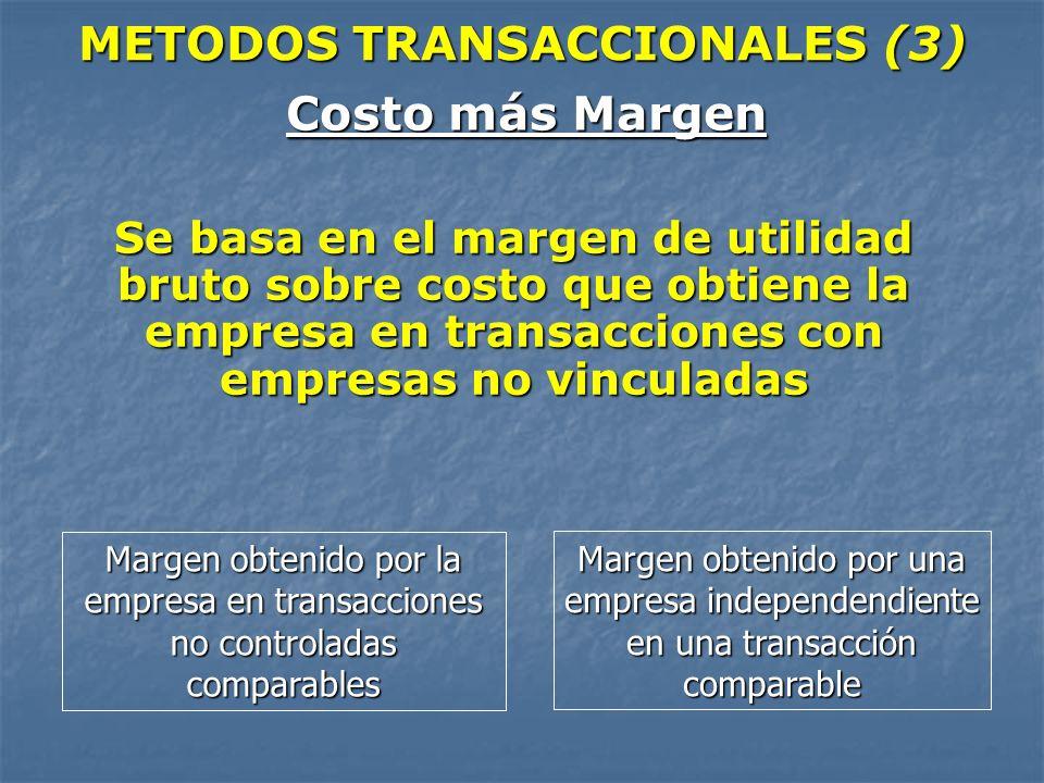 METODOS TRANSACCIONALES (3) Costo más Margen Se basa en el margen de utilidad bruto sobre costo que obtiene la empresa en transacciones con empresas n