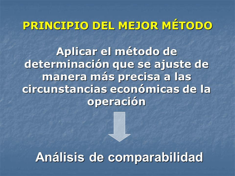 PRINCIPIO DEL MEJOR MÉTODO Aplicar el método de determinación que se ajuste de manera más precisa a las circunstancias económicas de la operación Anál