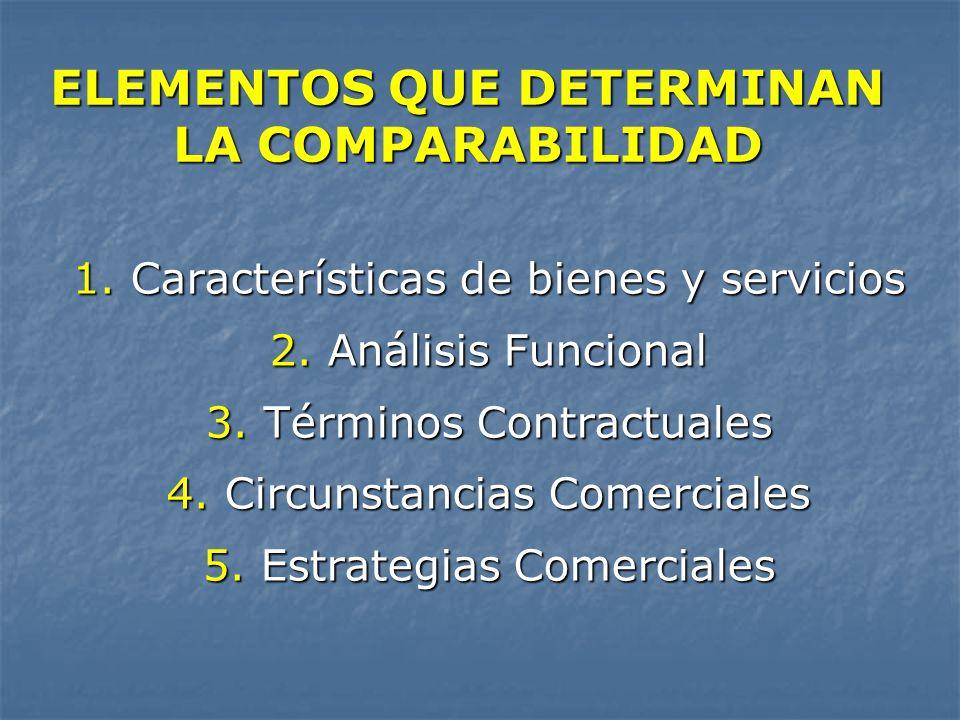 ELEMENTOS QUE DETERMINAN LA COMPARABILIDAD 1. Características de bienes y servicios 2. Análisis Funcional 3. Términos Contractuales 4. Circunstancias