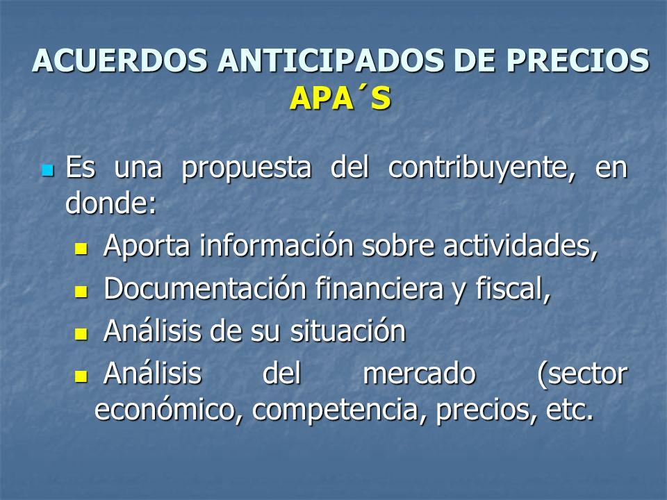 ACUERDOS ANTICIPADOS DE PRECIOS APA´S Es una propuesta del contribuyente, en donde: Es una propuesta del contribuyente, en donde: Aporta información s