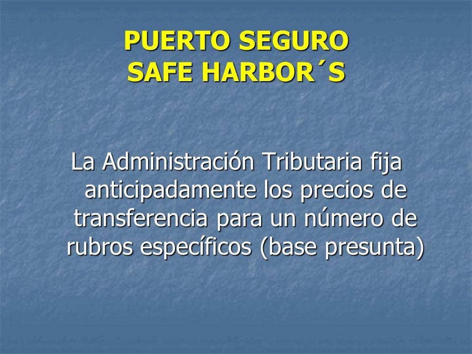 PUERTO SEGURO SAFE HARBOR´S La Administración Tributaria fija anticipadamente los precios de transferencia para un número de rubros específicos (base