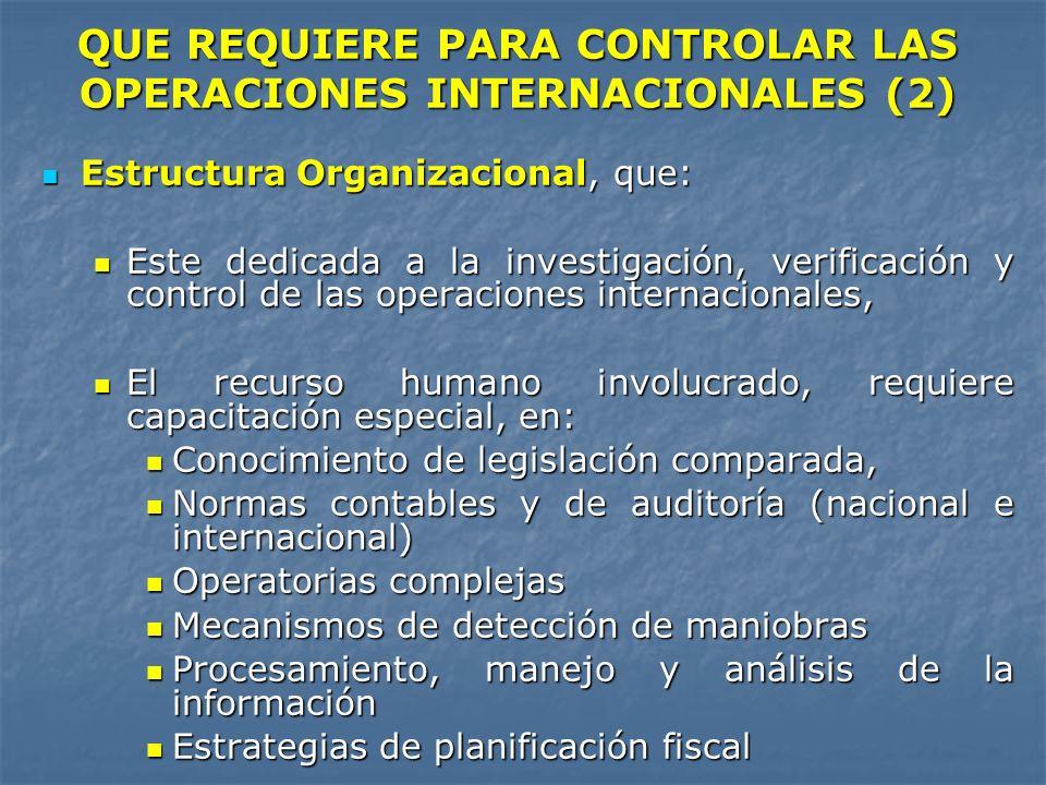 Estructura Organizacional, que: Estructura Organizacional, que: Este dedicada a la investigación, verificación y control de las operaciones internacio