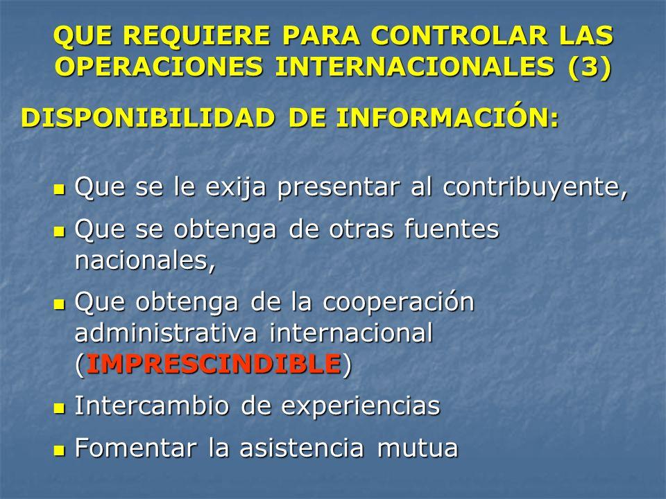 QUE REQUIERE PARA CONTROLAR LAS OPERACIONES INTERNACIONALES (3) DISPONIBILIDAD DE INFORMACIÓN: Que se le exija presentar al contribuyente, Que se le e