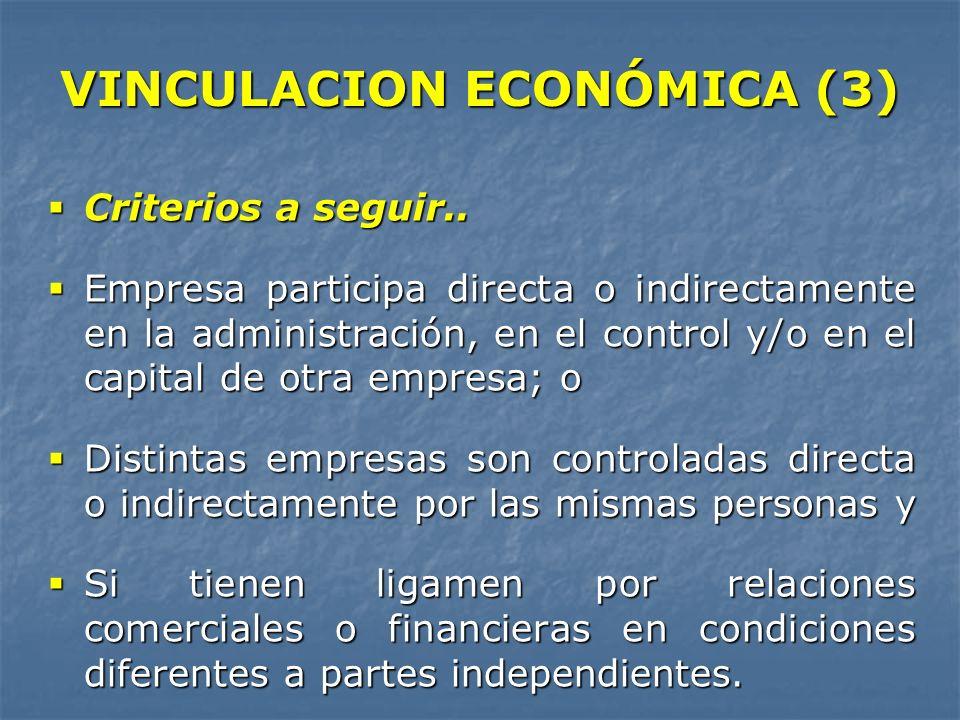 VINCULACION ECONÓMICA (3) Criterios a seguir.. Criterios a seguir.. Empresa participa directa o indirectamente en la administración, en el control y/o