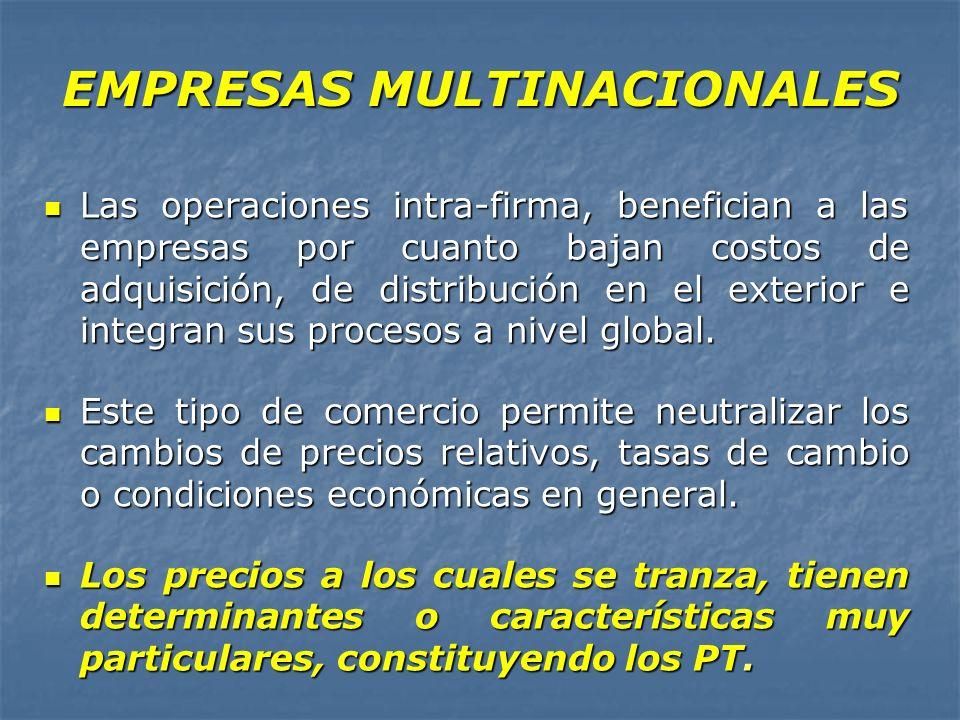 EMPRESAS MULTINACIONALES Las operaciones intra-firma, benefician a las empresas por cuanto bajan costos de adquisición, de distribución en el exterior