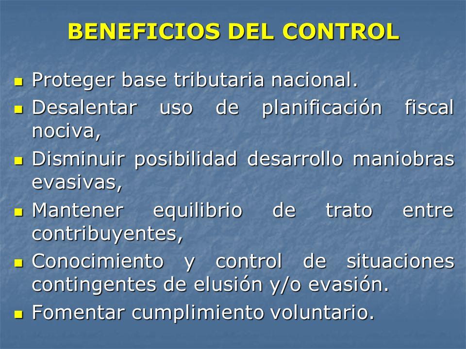 BENEFICIOS DEL CONTROL Proteger base tributaria nacional. Proteger base tributaria nacional. Desalentar uso de planificación fiscal nociva, Desalentar