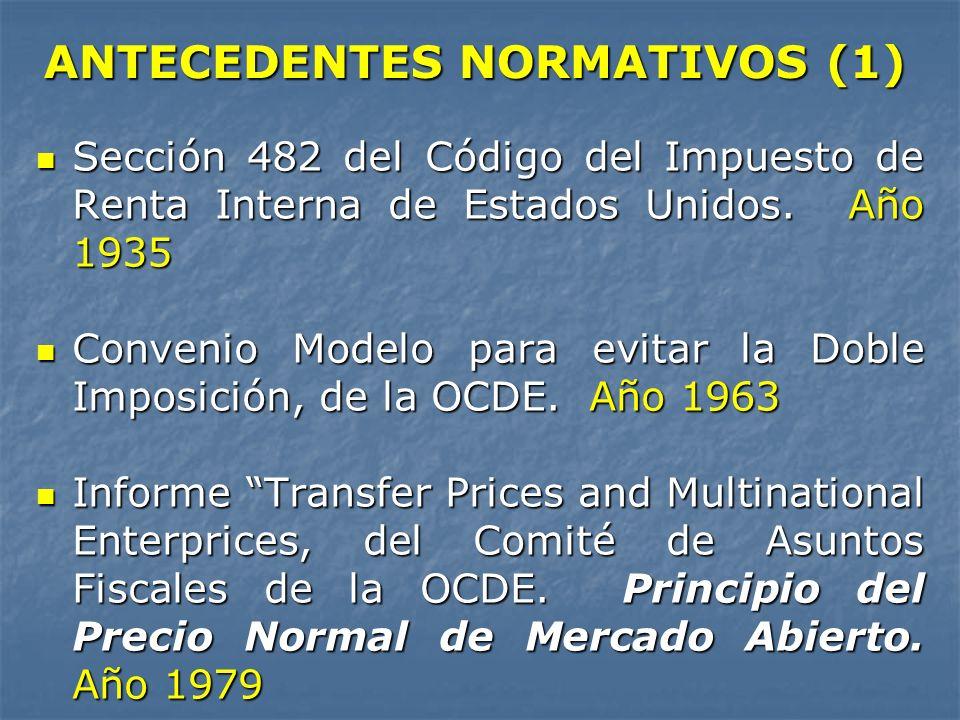 ANTECEDENTES NORMATIVOS (1) Sección 482 del Código del Impuesto de Renta Interna de Estados Unidos. Año 1935 Sección 482 del Código del Impuesto de Re