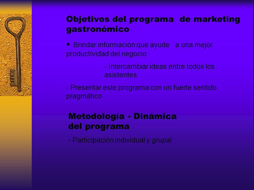 Objetivos del programa de marketing gastronómico Brindar información que ayude a una mejor productividad del negocio - Intercambiar ideas entre todos