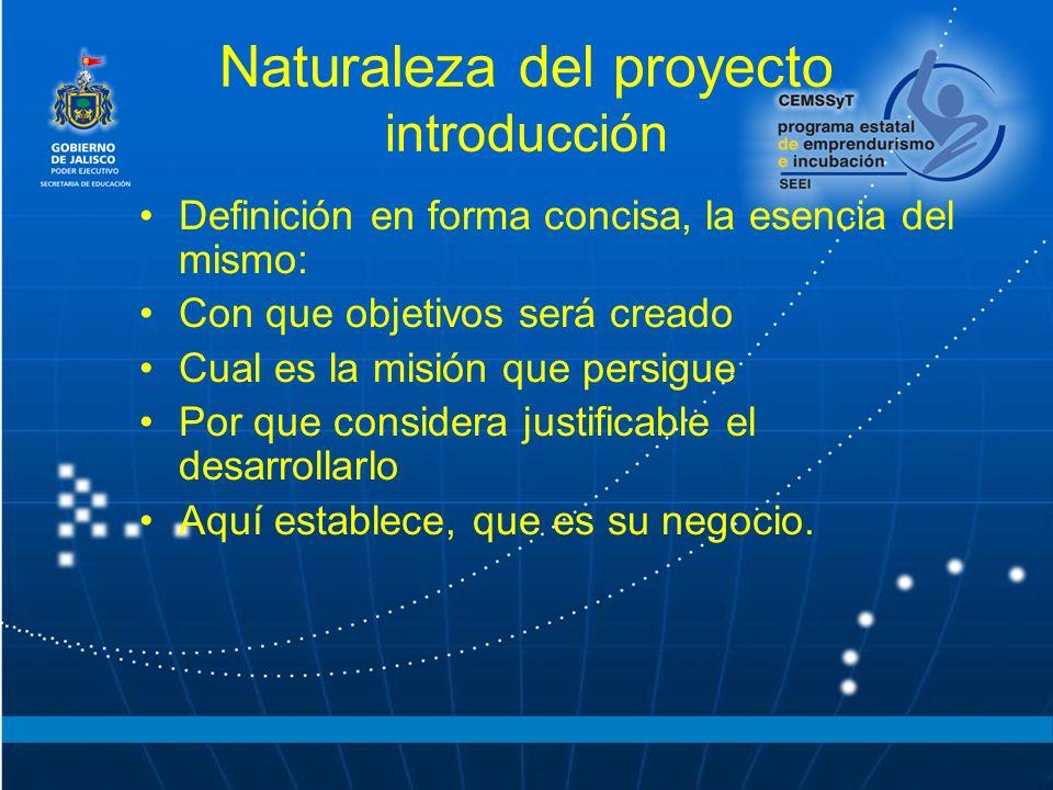 Naturaleza del proyecto introducción Definición en forma concisa, la esencia del mismo: Con que objetivos será creado Cual es la misión que persigue P