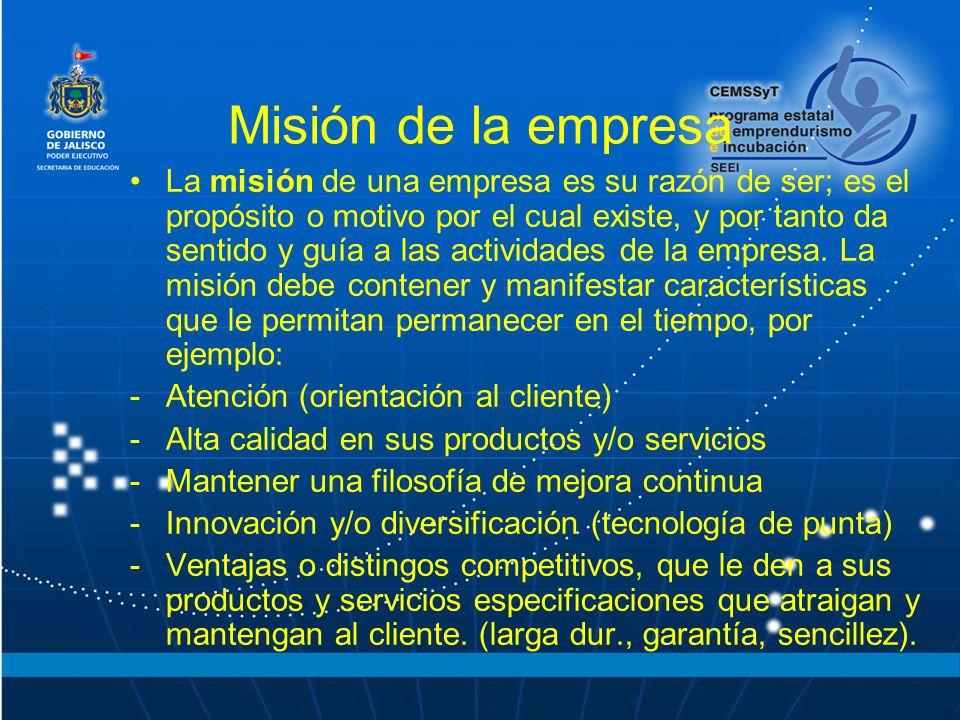 Misión de la empresa La misión de una empresa es su razón de ser; es el propósito o motivo por el cual existe, y por tanto da sentido y guía a las act