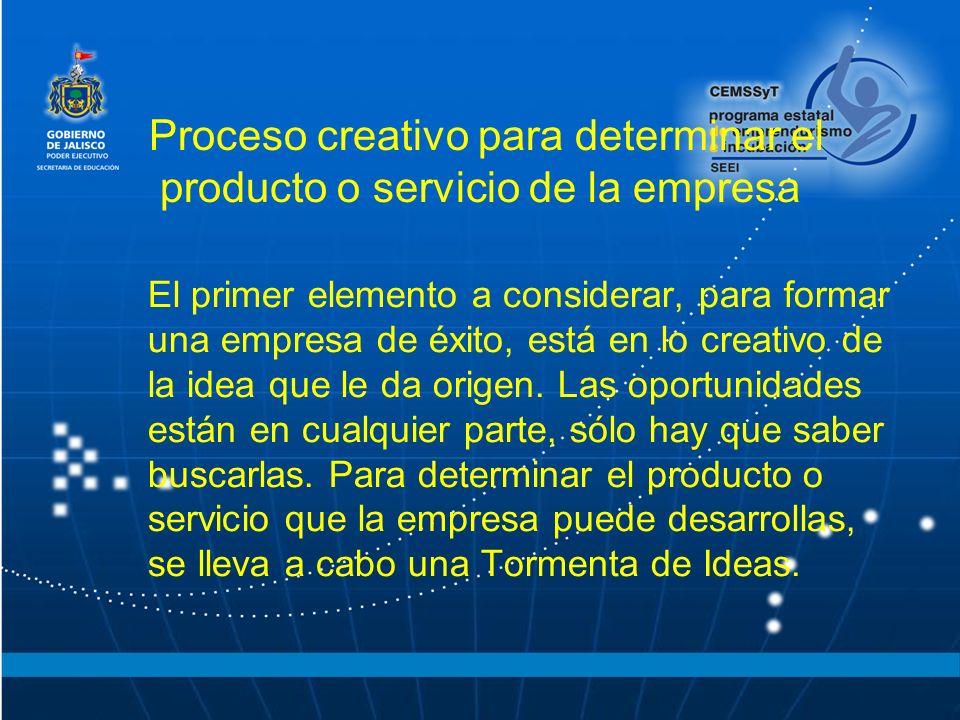 Proceso creativo para determinar el producto o servicio de la empresa El primer elemento a considerar, para formar una empresa de éxito, está en lo cr