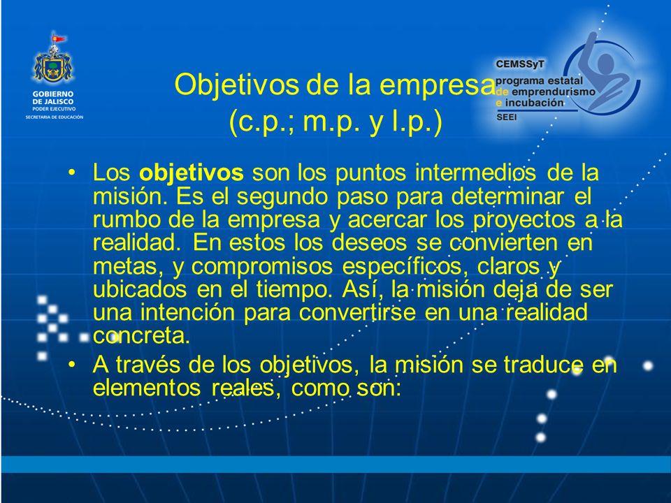 Objetivos de la empresa (c.p.; m.p. y l.p.) Los objetivos son los puntos intermedios de la misión. Es el segundo paso para determinar el rumbo de la e