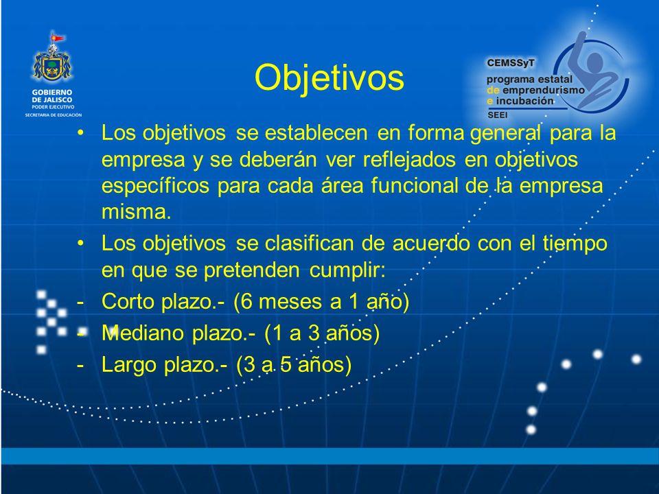 Objetivos Los objetivos se establecen en forma general para la empresa y se deberán ver reflejados en objetivos específicos para cada área funcional d