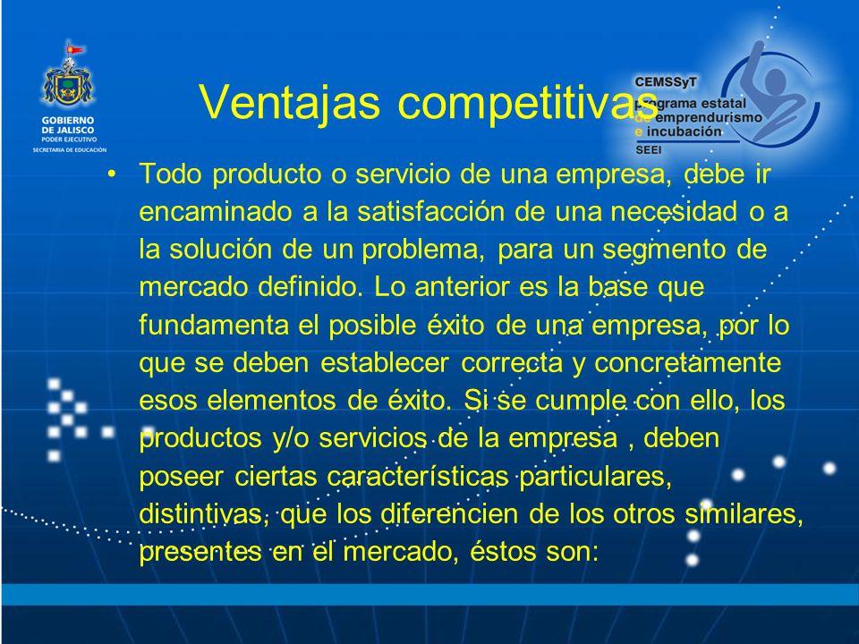 Ventajas competitivas Todo producto o servicio de una empresa, debe ir encaminado a la satisfacción de una necesidad o a la solución de un problema, p