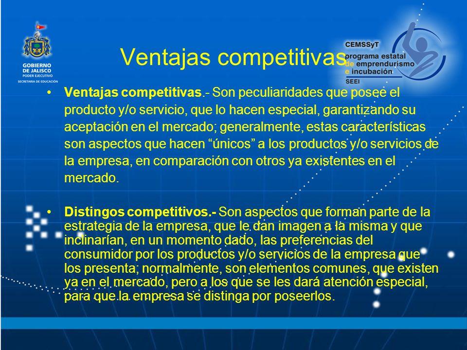 Ventajas competitivas Ventajas competitivas.- Son peculiaridades que posee el producto y/o servicio, que lo hacen especial, garantizando su aceptación