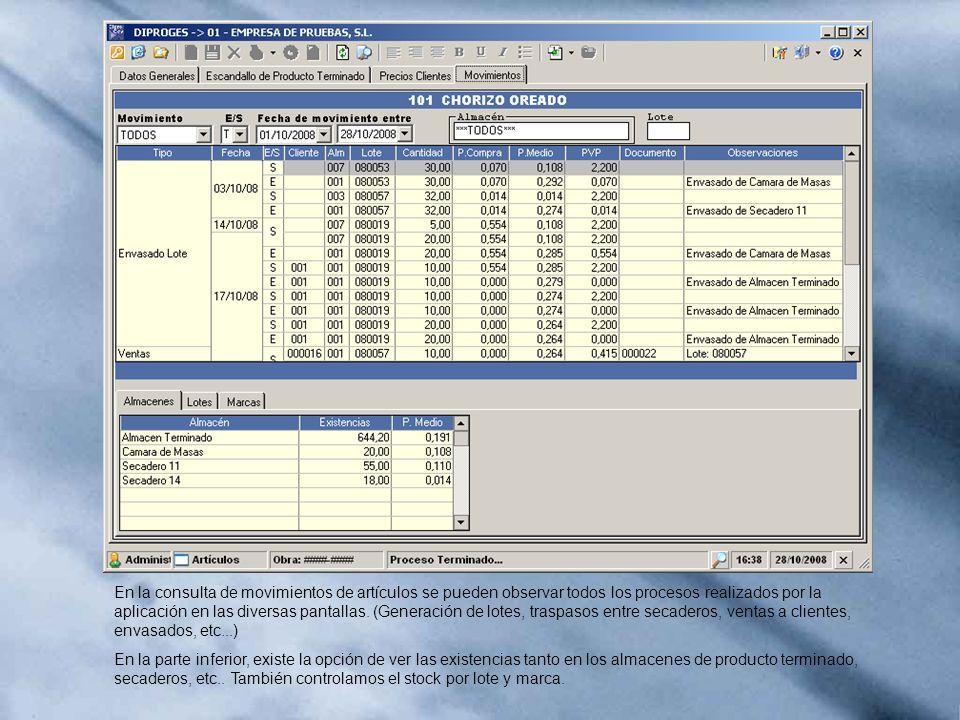 En la consulta de movimientos de artículos se pueden observar todos los procesos realizados por la aplicación en las diversas pantallas. (Generación d