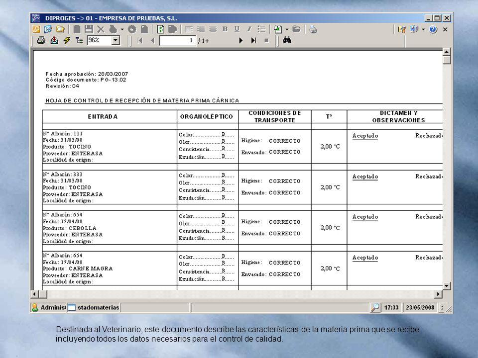 Destinada al Veterinario, este documento describe las características de la materia prima que se recibe incluyendo todos los datos necesarios para el