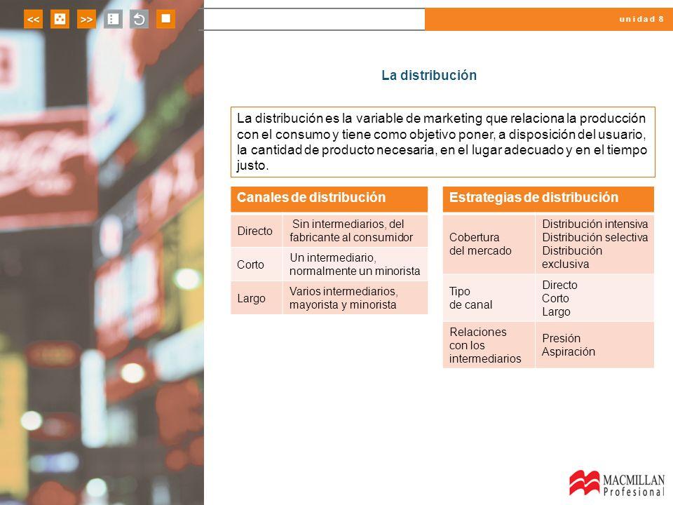 u n i d a d 8 La distribución La distribución es la variable de marketing que relaciona la producción con el consumo y tiene como objetivo poner, a di