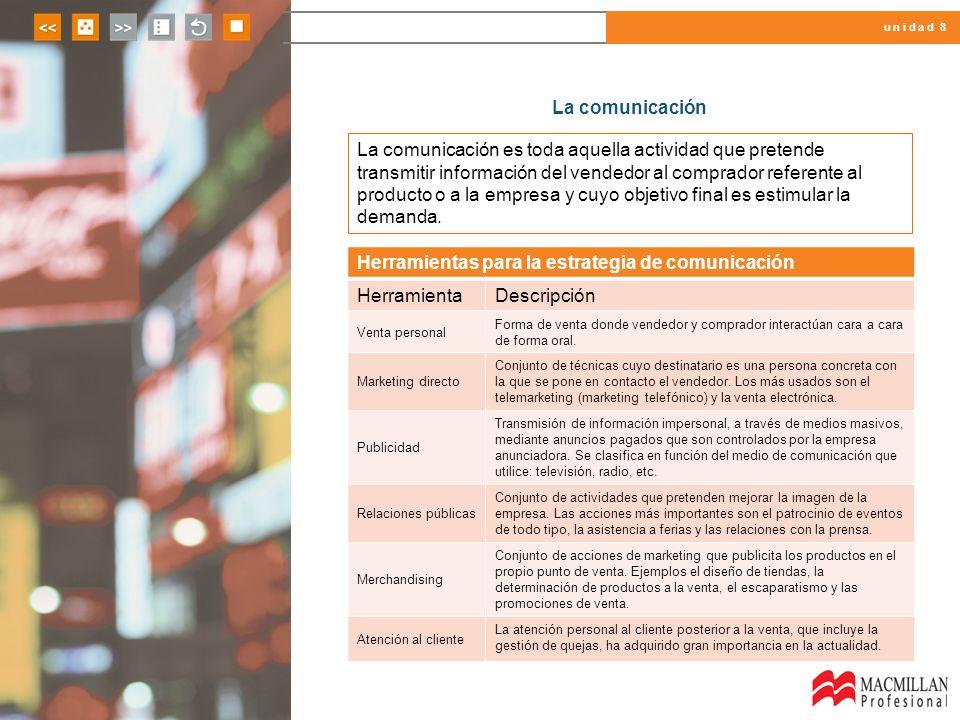 u n i d a d 8 La comunicación La comunicación es toda aquella actividad que pretende transmitir información del vendedor al comprador referente al pro