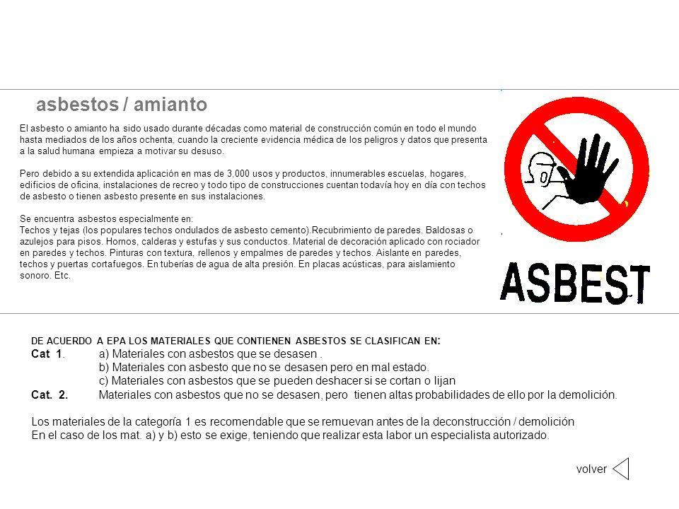 asbestos / amianto El asbesto o amianto ha sido usado durante décadas como material de construcción común en todo el mundo hasta mediados de los años
