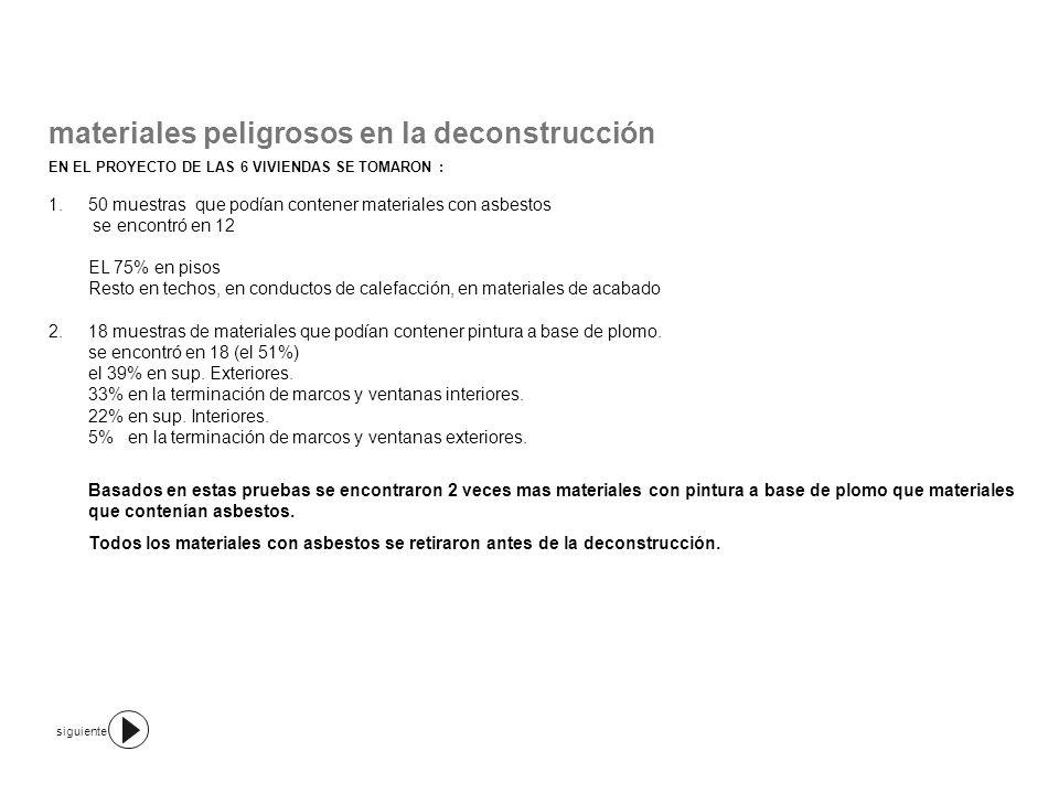 materiales peligrosos en la deconstrucción PRECAUCIONES TOMADAS EN EL PROYECTO: 1.